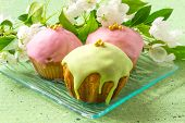 Постер, плакат: Cupcakes With Colored Icing And A Branch Of Apple