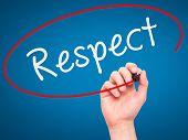 stock photo of respect  - Man Hand writing Respect black marker on visual screen - JPG