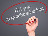 foto of competition  - Man Hand writing Find your competitive advantage with marker on transparent wipe board - JPG