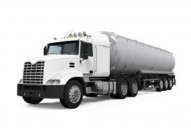 foto of tank truck  - Fuel Tanker Truck isolated on white background - JPG