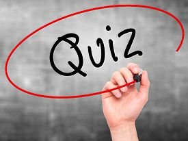 image of quiz  - Man Hand writing Quiz with marker on transparent wipe board - JPG