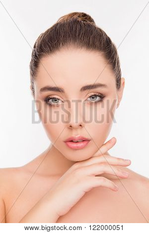 Close Up Portrait Of Attrective Beautiful Sensitive Girl Touching Her Chin