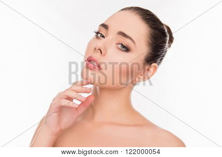 Portrait Of Beautiful Sensual Girl Touching Her Chin