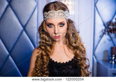 Portrait Of Luxury Vogue Style Model With Openwork Lace Bandage