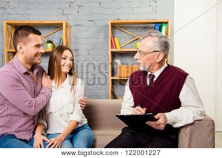 Psychotherapist Help. Happy Young Family Without Problems
