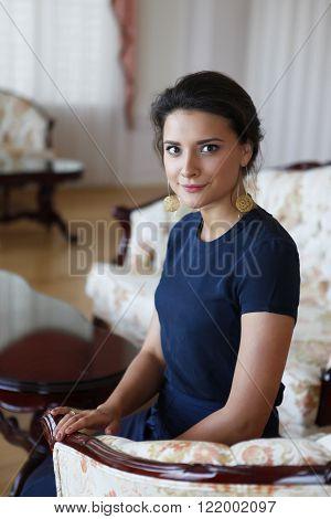 Portrait of a beautiful brunette in home