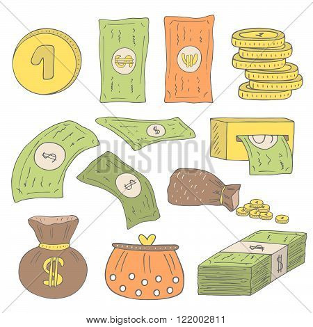 Cute hand drawn doodle money collection including dollar, euro, coins, bag with money, purse, money pack, atm machine