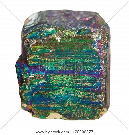 macro shooting of natural rock specimen - piece of iridescent (rainbow) pyrite mineral stone isolated on white background