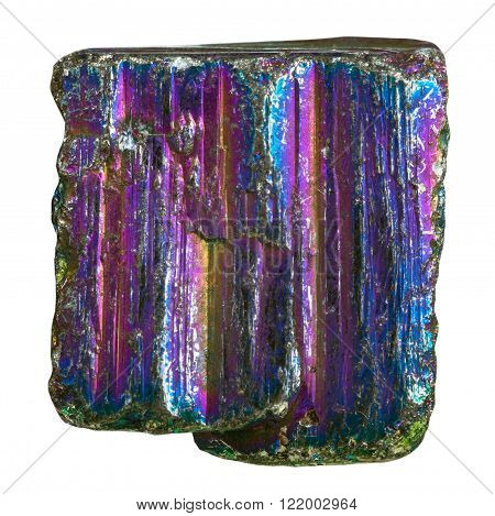 macro shooting of natural rock specimen - piece of rainbow pyrite mineral stone isolated on white background