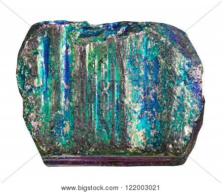 macro shooting of natural rock specimen - sample of iridescent (rainbow) pyrite mineral stone isolated on white background
