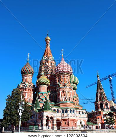 MOSCOW, RUSSIA - SEPTEMBER 17, 2012: Cathedral of Basil Blessed in Moscow against the blue sky