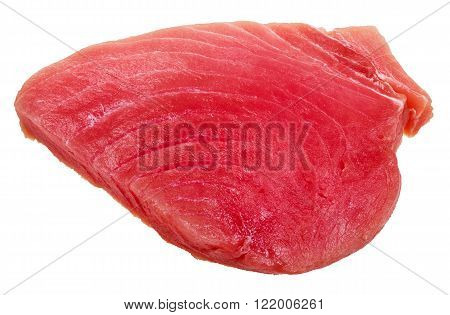 piece of raw tuna fish meat isolated on white background