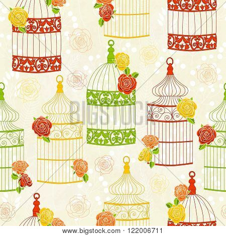 Vector seamless pattern with birdcages and roses. Colorful illustration. Perfect for invitations, manufacture wrapping paper, textile, wedding and web design.