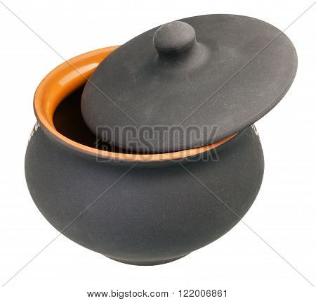 Ceramic Pot With Slightly Open Lid Isolated