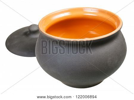 Open Ceramic Pot And Lid Isolated On White