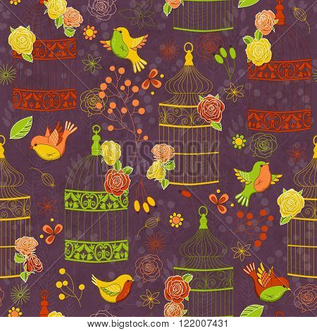 Vector seamless pattern with birds birdcages and flowers. Colorful illustration on dark background. Perfect for invitations, manufacture wrapping paper, textile, wedding and web design.