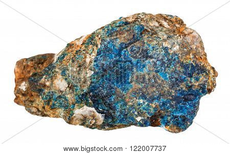 Piece Of Blue Lazulite Mineral Stone In Muscovite
