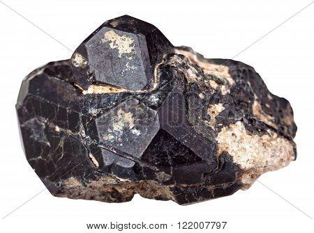 Spinel Mineral Gemstone On Black Diopside Crystals
