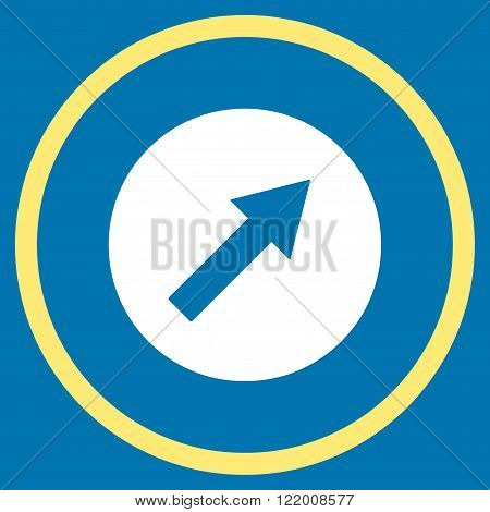 Up-Right Rounded Arrow vector icon. Style is bicolor flat rounded iconic symbol, up-right rounded arrow icon is drawn with yellow and white colors on a blue background.