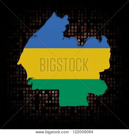 Gabon map flag on hex code illustration