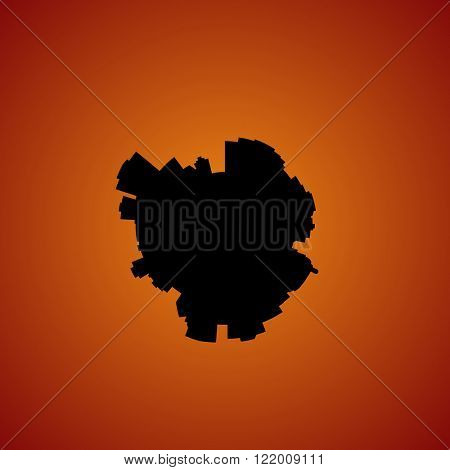 Edmonton circular skyline sunset illustration