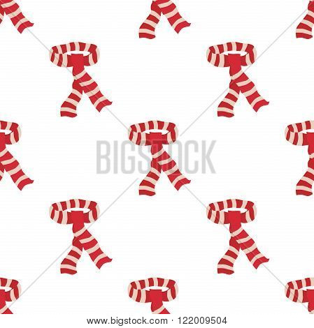 Red striped scarf seamless pattern isolated on white. Infinite repeatable tiles. EPS 8 vector illustration no transparency
