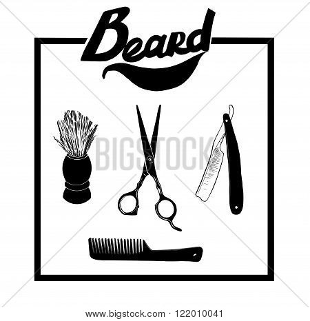 Hand drawn illustration set of Barber materials, isolated on a background. Vector hipster Barber shop logo, icon. Beard, scissors, comb , razor, shaving brush.