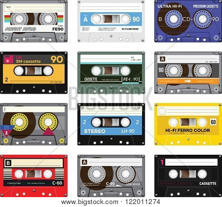 Retro plastic audio cassette music cassette cassette tape. Isolated on white background. Realistic illustration of old technology. Vintage tape.