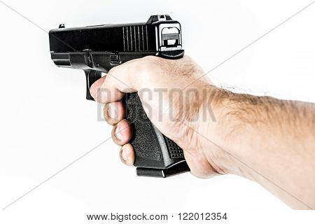 black color gun holding in hand isolated on white background