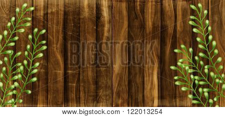 A digitally created wooden plank background texture with leafy plant stems.