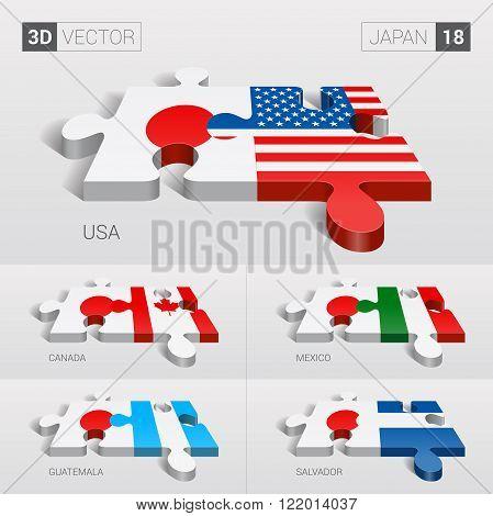 Japan and USA, Canada, Mexico, Guatemala, Salvador Flag. 3d vector puzzle. Set 18.