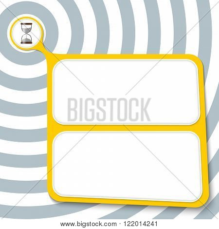 Abstract yellow box for your text and sand glass