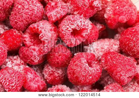 Close up view on frozen Raspberry fruits food background Raspberry ** Note: Soft Focus at 100%, best at smaller sizes