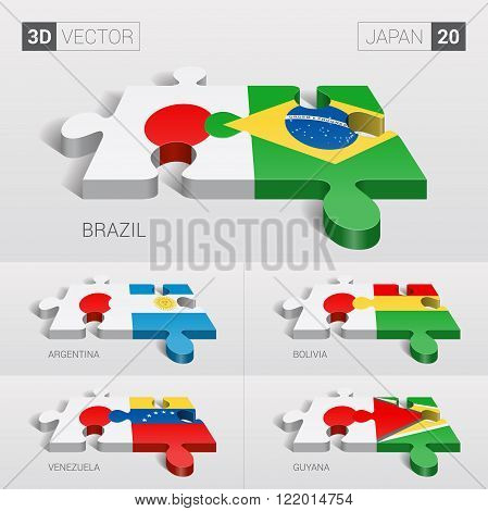 Japan and Brazil, Argentina, Bolivia, Venezuela, Guyana Flag. 3d vector puzzle. Set 20.
