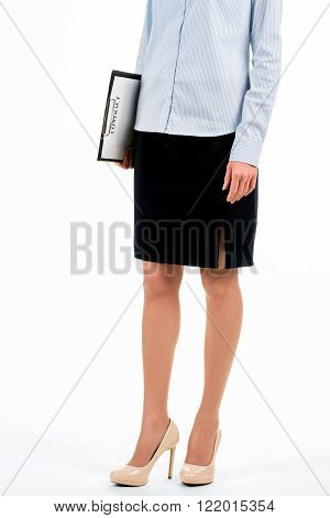 Woman standing and holding clipboard. Young female employee holds clipboard. Time to meet the candidates. Recruiter ready for work.