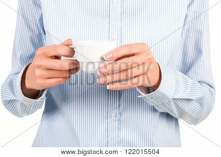 Lady's hand with tea cup. Female employee holds tea cup. Good mood in a cup. Keep calm and drink tea.