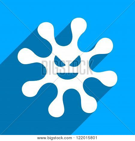 Evil Bacteria long shadow vector icon. Style is a flat evil bacteria iconic symbol on a blue square background.
