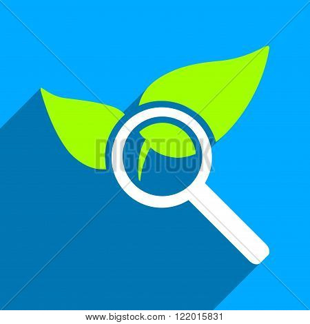Explore Natural Drugs long shadow vector icon. Style is a flat explore natural drugs iconic symbol on a blue square background.