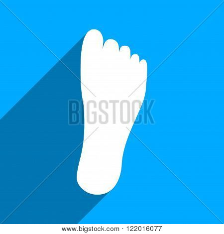 Foot Sole long shadow vector icon. Style is a flat foot sole iconic symbol on a blue square background.