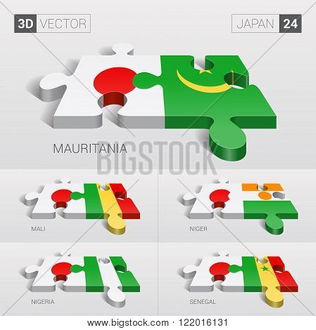 Japan and Mauritania, Mali, Niger, Nigeria, Senegal Flag. 3d vector puzzle. Set 24.
