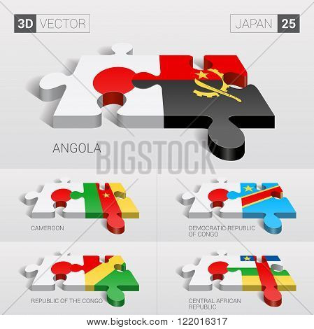 Japan and Angola, Cameroon, Democratic Republic of Congo, Republic of the Congo, Central African Republic Flag. 3d vector puzzle. Set 25.