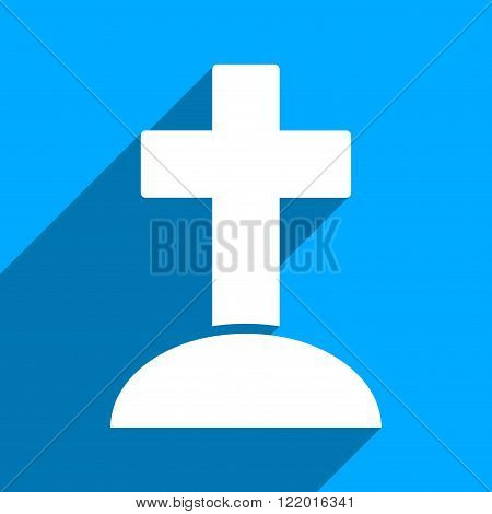 Grave long shadow vector icon. Style is a flat grave iconic symbol on a blue square background.