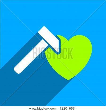 Heart Hammer long shadow vector icon. Style is a flat heart hammer iconic symbol on a blue square background.