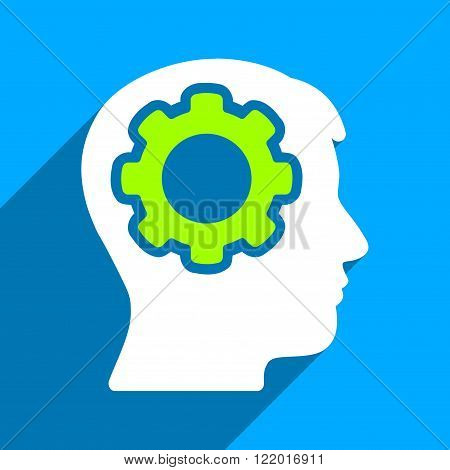 Human Mind long shadow vector icon. Style is a flat human mind iconic symbol on a blue square background.