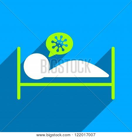 Infected Patient Bed long shadow vector icon. Style is a flat infected patient bed iconic symbol on a blue square background.