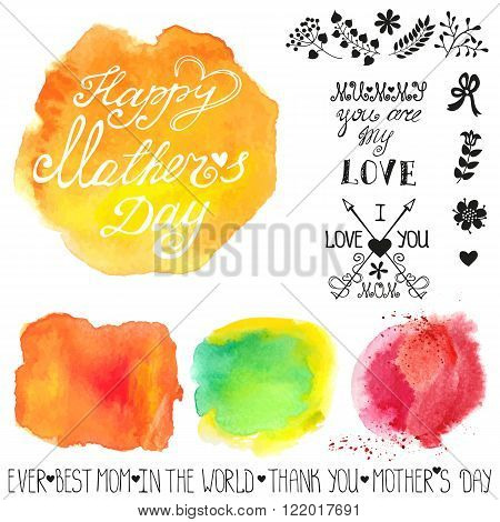 Mothers day.Watercolor steins headline catchword, flowers, branches design template.Cute  Greeting card , invitation.Hand drawing painting.Bright colorful Vector