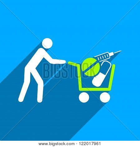 Medical Shopping Cart long shadow vector icon. Style is a flat medical shopping cart iconic symbol on a blue square background.