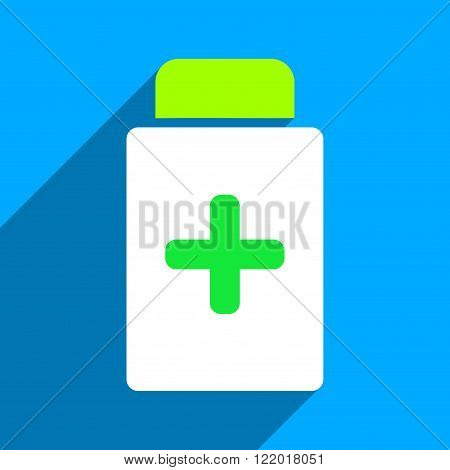 Medication Bottle long shadow vector icon. Style is a flat medication bottle iconic symbol on a blue square background.
