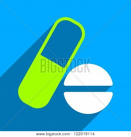 Medication long shadow vector icon. Style is a flat medication iconic symbol on a blue square background.