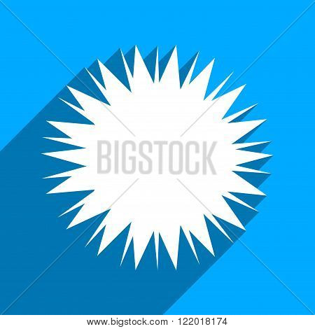 Microbe Spore long shadow vector icon. Style is a flat microbe spore iconic symbol on a blue square background.